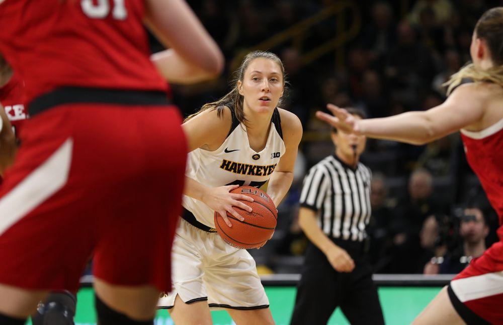 Iowa Hawkeyes forward Amanda Ollinger (43) against the Nebraska Cornhuskers Thursday, January 3, 2019 at Carver-Hawkeye Arena. (Brian Ray/hawkeyesports.com)