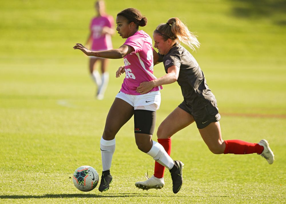 Iowa midfielder/forward Melina Hegelheimer (26) moves with the ball during the second half of their match at the Iowa Soccer Complex in Iowa City on Sunday, Oct 27, 2019. (Stephen Mally/hawkeyesports.com)