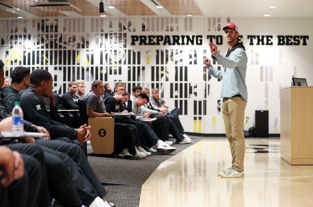 Honorary Captain Ricky Stanzi addresses the team Friday, October 11, 2019 at the Hansen Football Performance Center. (Brian Ray/hawkeyesports.com)