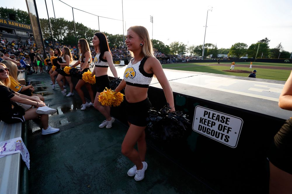 The Iowa Spirit Squad performs during the Iowa Hawkeyes game against the Penn State Nittany Lions Saturday, May 19, 2018 at Duane Banks Field. (Brian Ray/hawkeyesports.com)