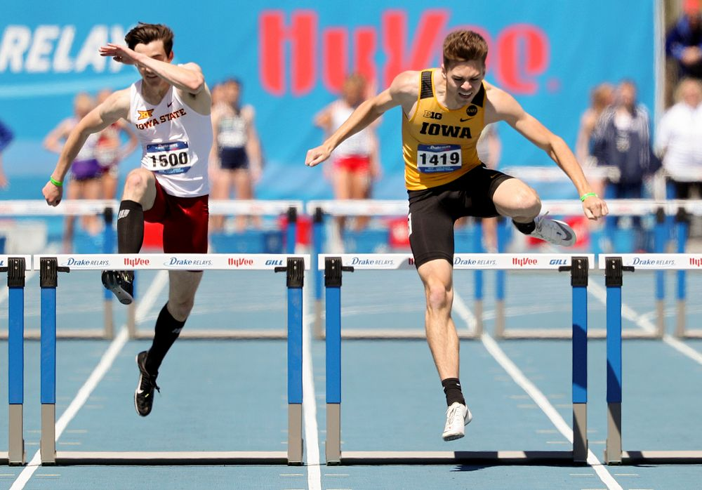 Iowa's Chris Douglas runs in the men's 400 meter hurdles event during the second day of the Drake Relays at Drake Stadium in Des Moines on Friday, Apr. 26, 2019. (Stephen Mally/hawkeyesports.com)