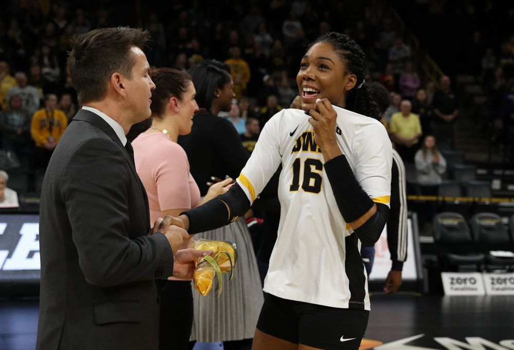 Iowa Hawkeyes outside hitter Taylor Louis (16) during senior day activities before their game against the Ohio State Buckeyes Saturday, November 24, 2018 at Carver-Hawkeye Arena. (Brian Ray/hawkeyesports.com)