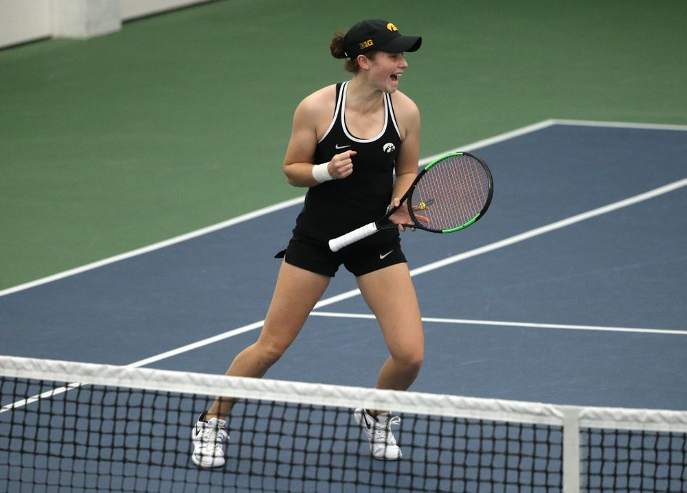Iowa's Elise Van Heuvelen Treadwell during a doubles match against North Texas Sunday, January 20, 2019 at the Hawkeye Tennis and Recreation Center. (Brian Ray/hawkeyesports.com)