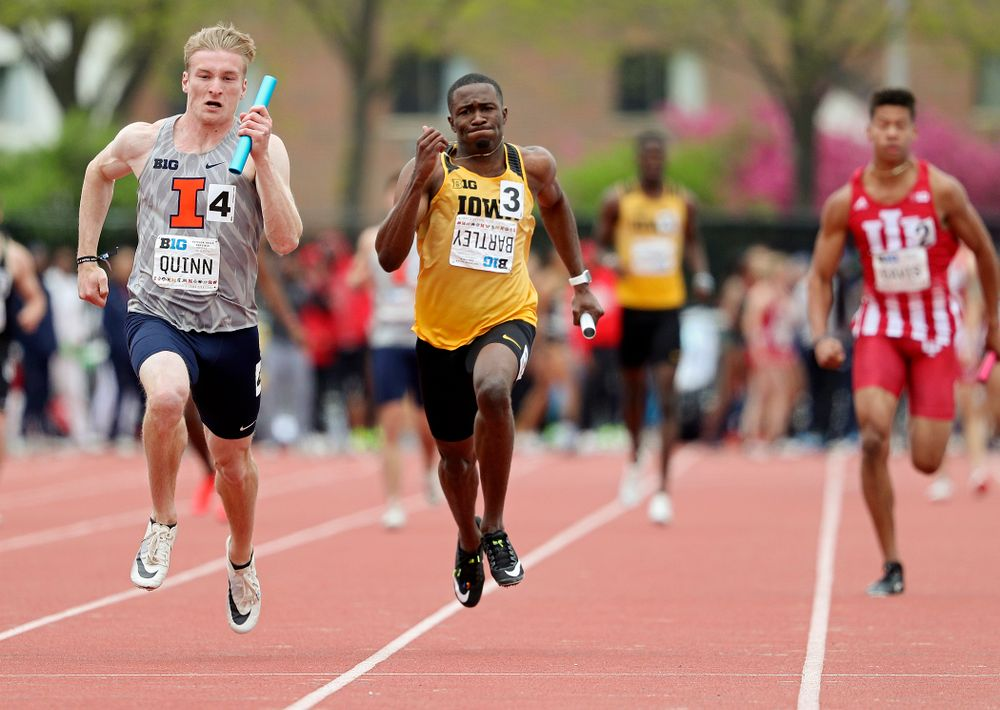 Iowa's Karayme Bartley runs his section of the men's 400 meter relay event on the third day of the Big Ten Outdoor Track and Field Championships at Francis X. Cretzmeyer Track in Iowa City on Sunday, May. 12, 2019. (Stephen Mally/hawkeyesports.com)