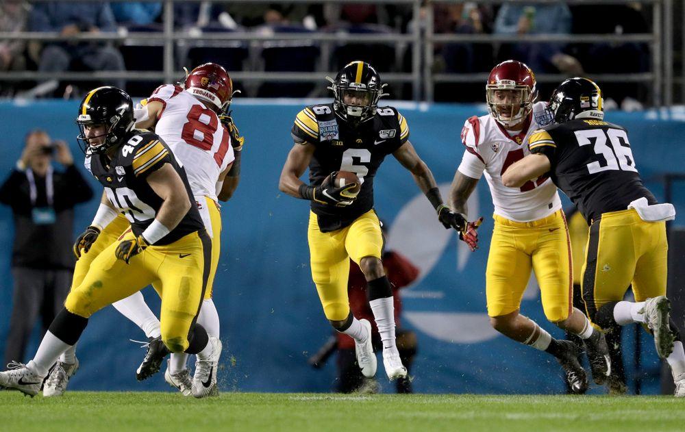 Iowa Hawkeyes wide receiver Ihmir Smith-Marsette (6) against USC in the Holiday Bowl Friday, December 27, 2019 at San Diego Community Credit Union Stadium.  (Brian Ray/hawkeyesports.com)