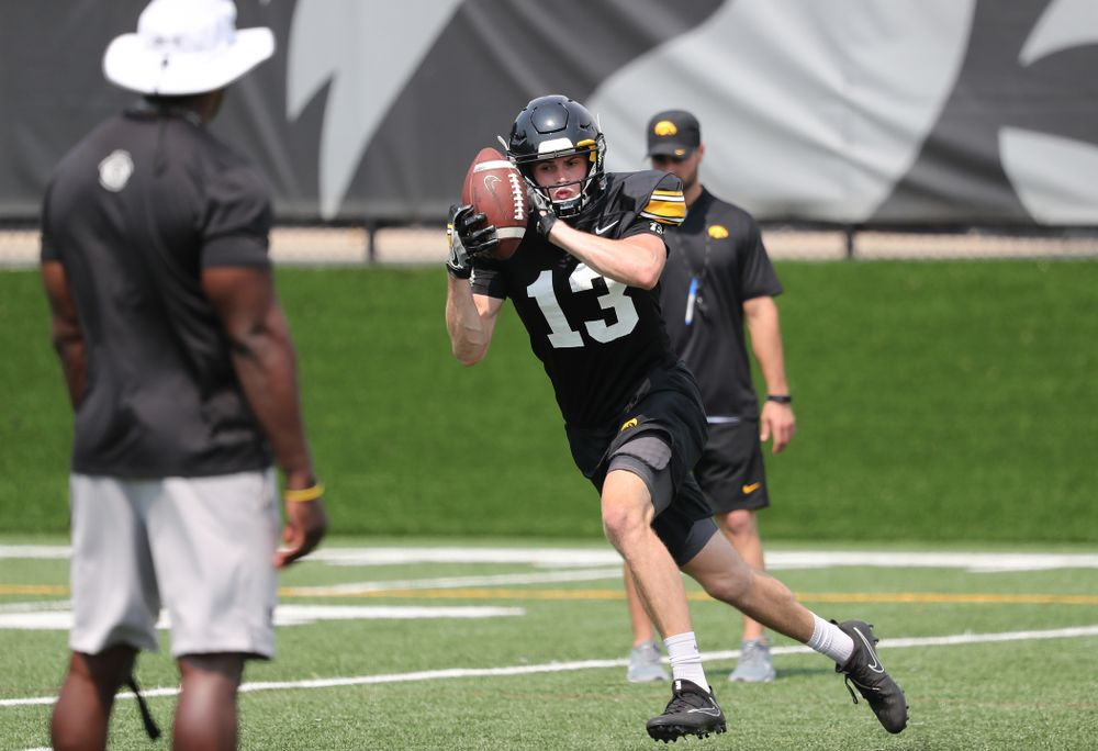 Iowa Hawkeyes wide receiver Henry Marchese (13) during the third practice of fall camp Sunday, August 5, 2018 at the Kenyon Football Practice Facility. (Brian Ray/hawkeyesports.com)
