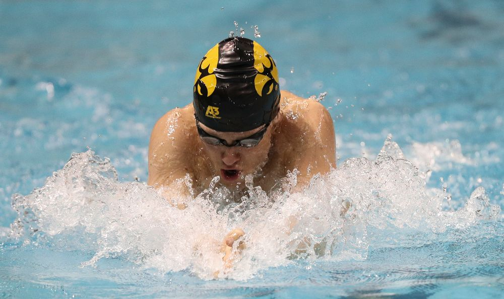 Iowa's Caleb Babb swims the breaststroke leg of the 200-yard medley relay during the third day of the Hawkeye Invitational at the Campus Recreation and Wellness Center on November 16, 2018. (Tork Mason/hawkeyesports.com)