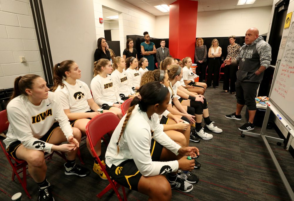 Sam Cila from The Program addresses the Hawkeyes before their game against the Maryland Terrapins Thursday, February 13, 2020 at the Xfinity Center in College Park, MD. (Brian Ray/hawkeyesports.com)