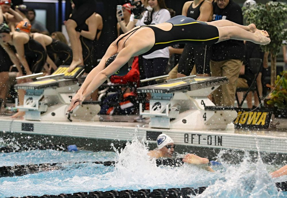 Iowa's Allyssa Fluit swims in the women's 200 yard freestyle relay event during the 2020 Women's Big Ten Swimming and Diving Championships at the Campus Recreation and Wellness Center in Iowa City on Friday, February 21, 2020. (Stephen Mally/hawkeyesports.com)