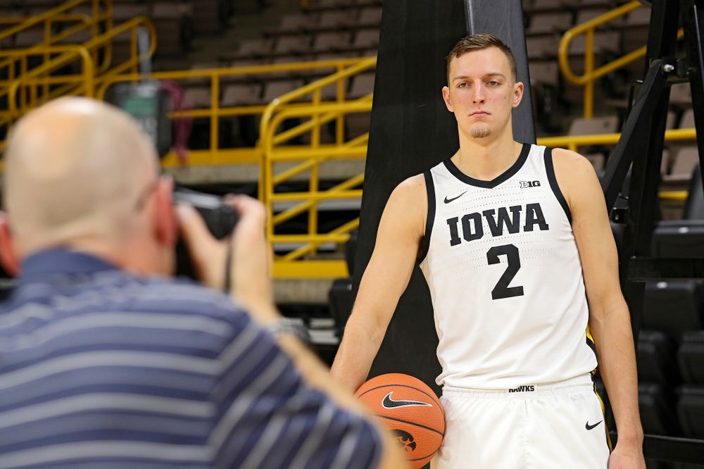 Iowa Hawkeyes forward Jack Nunge (2) poses for a picture during Iowa Men's Basketball Media Day at Carver-Hawkeye Arena in Iowa City on Wednesday, Oct 9, 2019. (Stephen Mally/hawkeyesports.com)
