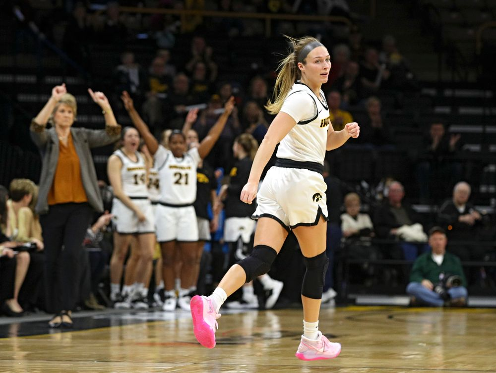 Iowa Hawkeyes guard Makenzie Meyer (3) runs down the court after making a 3-pointer during the second quarter of the game at Carver-Hawkeye Arena in Iowa City on Thursday, February 6, 2020. (Stephen Mally/hawkeyesports.com)
