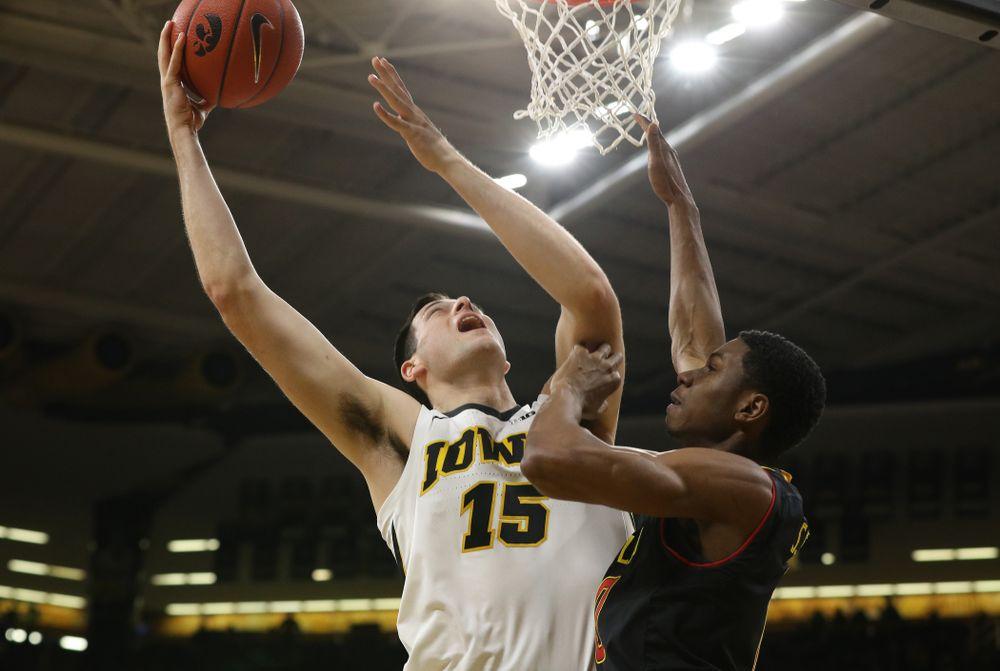 Iowa Hawkeyes forward Ryan Kriener (15) against the Maryland Terapins Tuesday, February 19, 2019 at Carver-Hawkeye Arena. (Brian Ray/hawkeyesports.com)