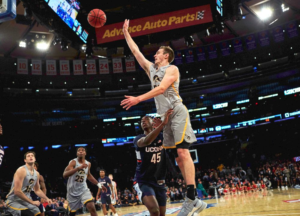 Iowa Hawkeyes forward Nicholas Baer (51) against UConn in the Championship game of the 2K Empire Classic Friday, November 16, 2018 at Madison Square Garden in New York City. (Duncan H.Williams/Freelance)