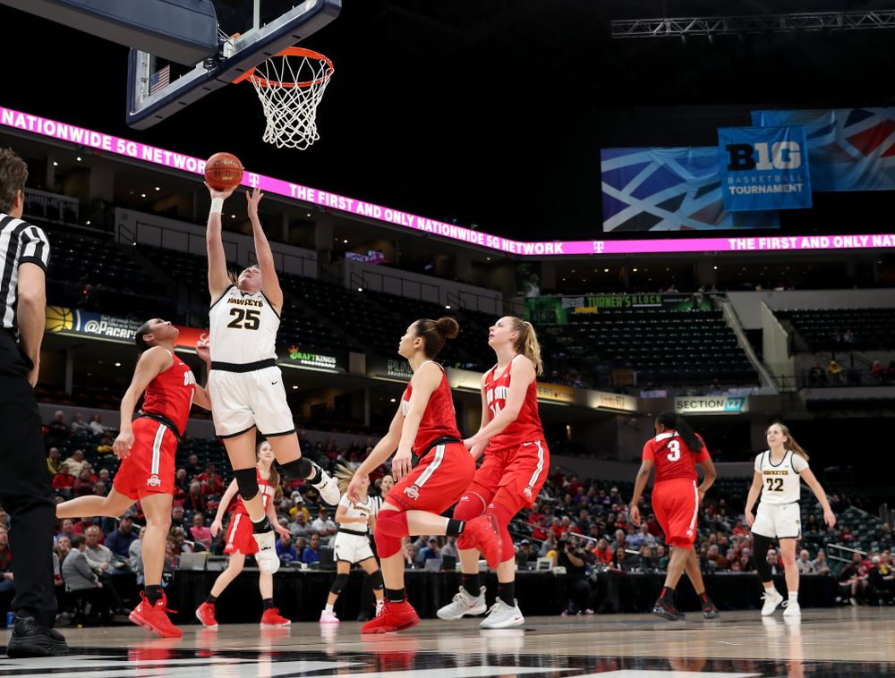 Iowa Hawkeyes forward/center Monika Czinano (25) against Ohio State in the quarterfinals of the Big Ten Basketball Tournament Friday, March 6, 2020 at Bankers Life Fieldhouse in Indianapolis. (Brian Ray/hawkeyesports.com)