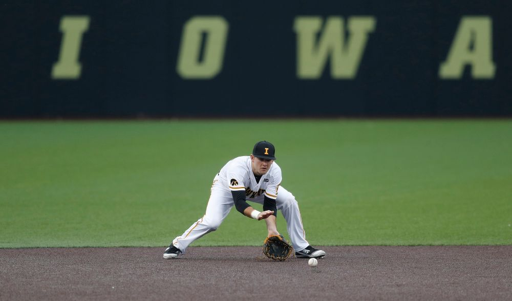 Iowa Hawkeyes infielder Kyle Crowl (23) against Coe College Wednesday, April 11, 2018 at Duane Banks Field. (Brian Ray/hawkeyesports.com)