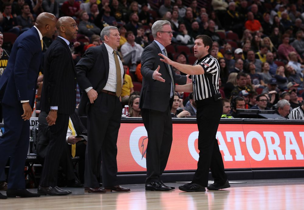 Iowa Hawkeyes head coach Fran McCaffery against the Illinois Fighting Illini in the 2019 Big Ten Men's Basketball Tournament Thursday, March 14, 2019 at the United Center in Chicago. (Brian Ray/hawkeyesports.com)