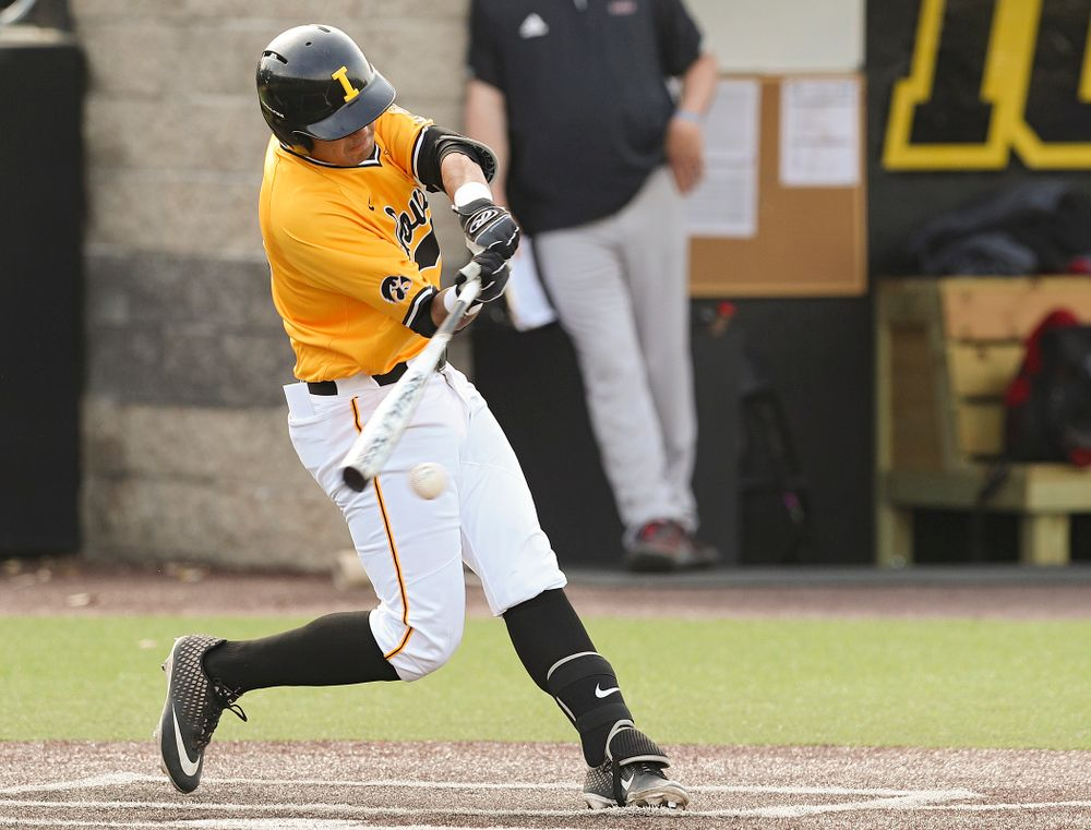 Iowa Hawkeyes infielder Matthew Sosa (31) bats during the second inning of their game against Northern Illinois at Duane Banks Field in Iowa City on Tuesday, Apr. 16, 2019. (Stephen Mally/hawkeyesports.com)