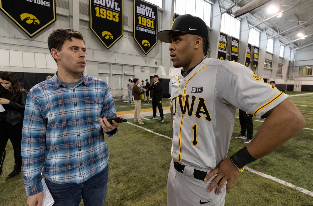 Iowa Hawkeyes infielder Lorenzo Elion (1) answers questions from reporters during the team's annual media day Tuesday, February 5, 2019 in the Indoor Practice Facility. (Brian Ray/hawkeyesports.com)