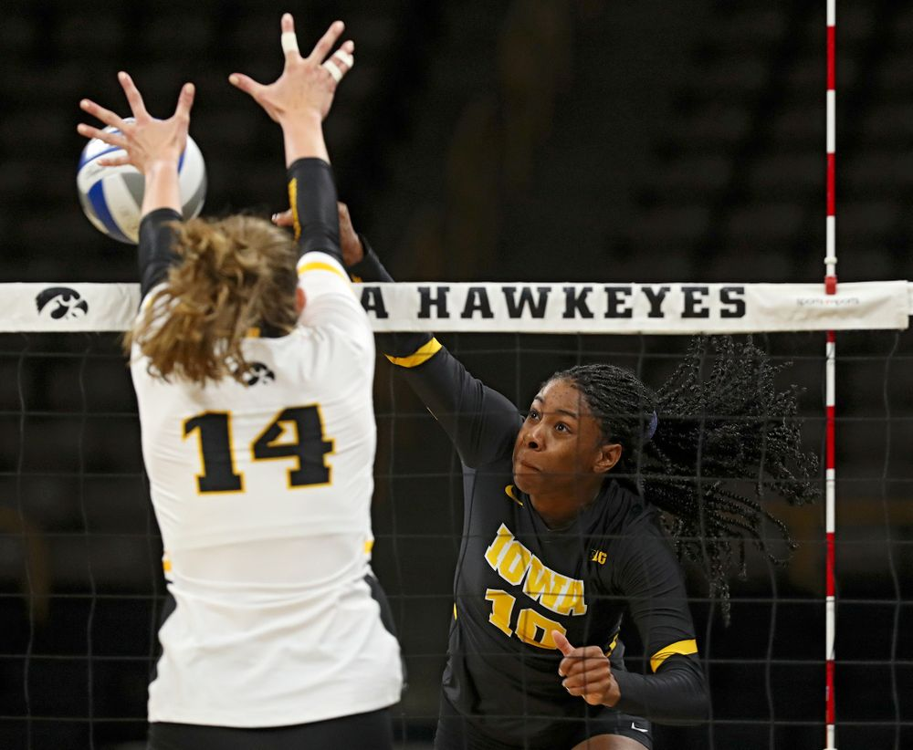 Iowa's Griere Hughes (10) during the third set of the Black and Gold scrimmage at Carver-Hawkeye Arena in Iowa City on Saturday, Aug 24, 2019. (Stephen Mally/hawkeyesports.com)