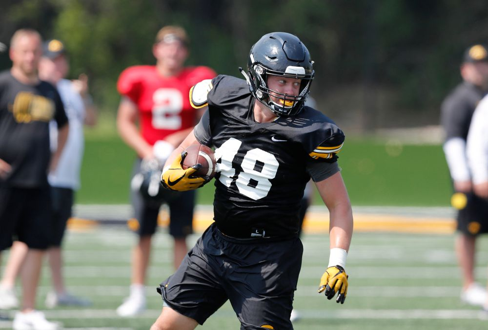 Iowa Hawkeyes tight end Bryce Schulte (48) during practice No. 7 of fall camp Friday, August 10, 2018 at the Kenyon Football Practice Facility. (Brian Ray/hawkeyesports.com)
