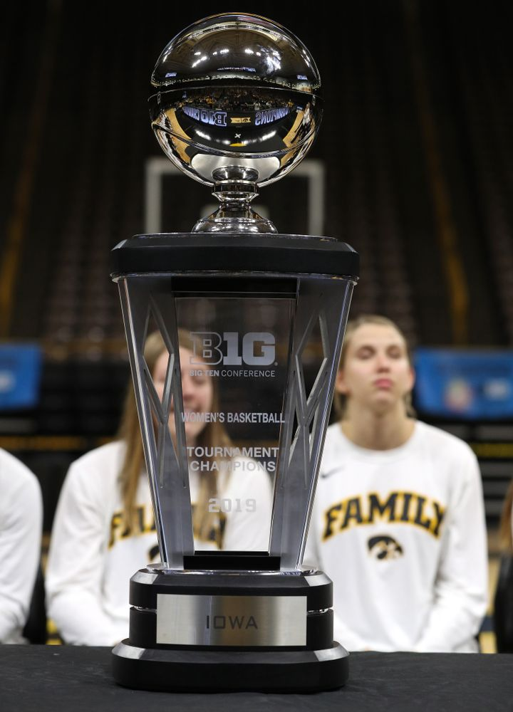 The Big Ten Championship trophy during a celebration of their Big Ten Women's Basketball Tournament championship Monday, March 18, 2019 at Carver-Hawkeye Arena. (Brian Ray/hawkeyesports.com)