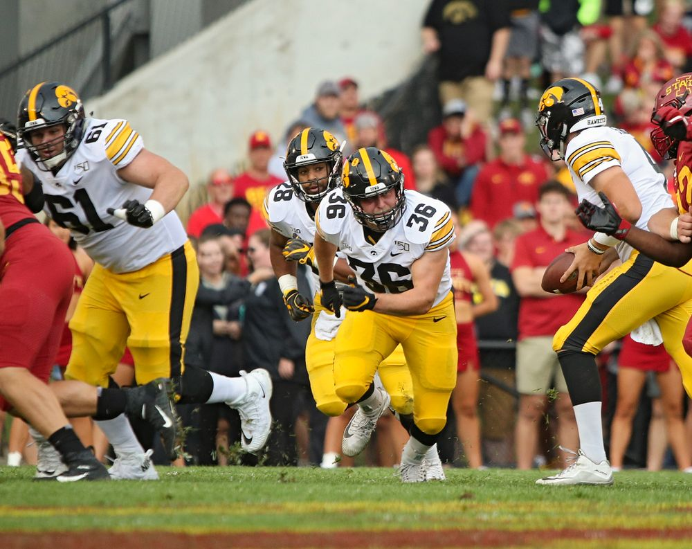 Iowa Hawkeyes fullback Brady Ross (36) looks to block during the first quarter of their Iowa Corn Cy-Hawk Series game at Jack Trice Stadium in Ames on Saturday, Sep 14, 2019. (Stephen Mally/hawkeyesports.com)