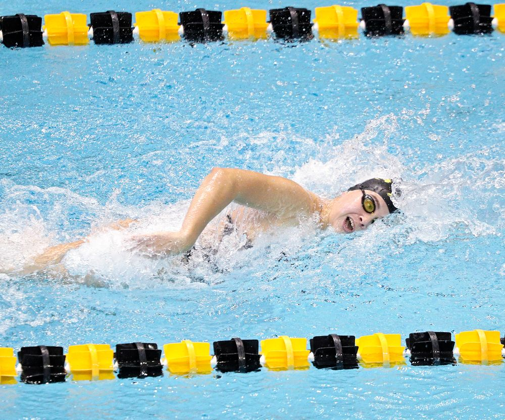 Iowa's Maddie Ziegert swims the women's 100-yard freestyle event during their meet against Michigan State and Northern Iowa at the Campus Recreation and Wellness Center in Iowa City on Friday, Oct 4, 2019. (Stephen Mally/hawkeyesports.com)