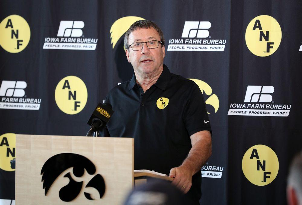 Iowa Farm Bureau Executive Director Joe Johnson addresses the media Tuesday, October 8, 2019 at the Hansen Football Performance Center. (Brian Ray/hawkeyesports.com)