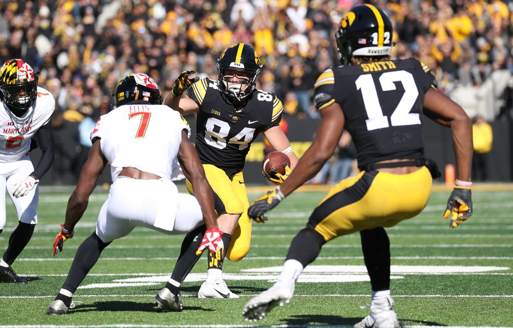 Iowa Hawkeyes wide receiver Nick Easley (84) against the Maryland Terrapins Saturday, October 20, 2018 at Kinnick Stadium (Max Allen/hawkeyesports.com)