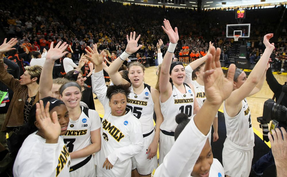 The Iowa Hawkeyes wave to their fans after winning their game during the first round of the 2019 NCAA Women's Basketball Tournament at Carver Hawkeye Arena in Iowa City on Friday, Mar. 22, 2019. (Stephen Mally for hawkeyesports.com)