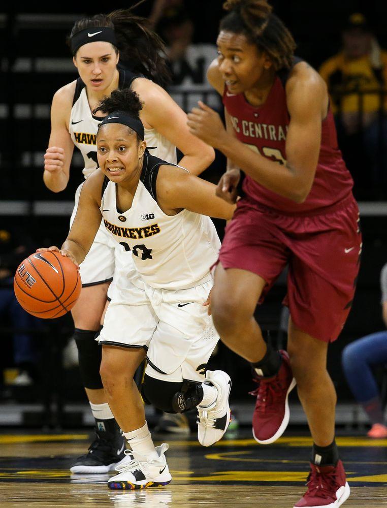 Iowa Hawkeyes guard Tania Davis (11) leads the break during a game against North Carolina Central at Carver-Hawkeye Arena on November 17, 2018. (Tork Mason/hawkeyesports.com)