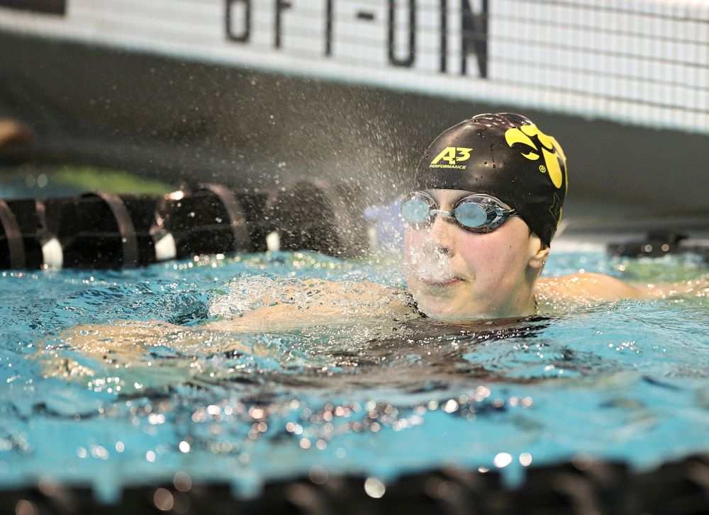 Iowa's Hannah Burvill swims in the women's 100 yard freestyle preliminary event during the 2020 Women's Big Ten Swimming and Diving Championships at the Campus Recreation and Wellness Center in Iowa City on Saturday, February 22, 2020. (Stephen Mally/hawkeyesports.com)