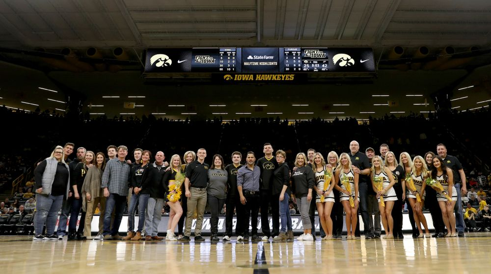 The Iowa Spirit Squad seniors at halftime of the Iowa Hawkeyes game against the Purdue Boilermakers Tuesday, March 3, 2020 at Carver-Hawkeye Arena. (Brian Ray/hawkeyesports.com)