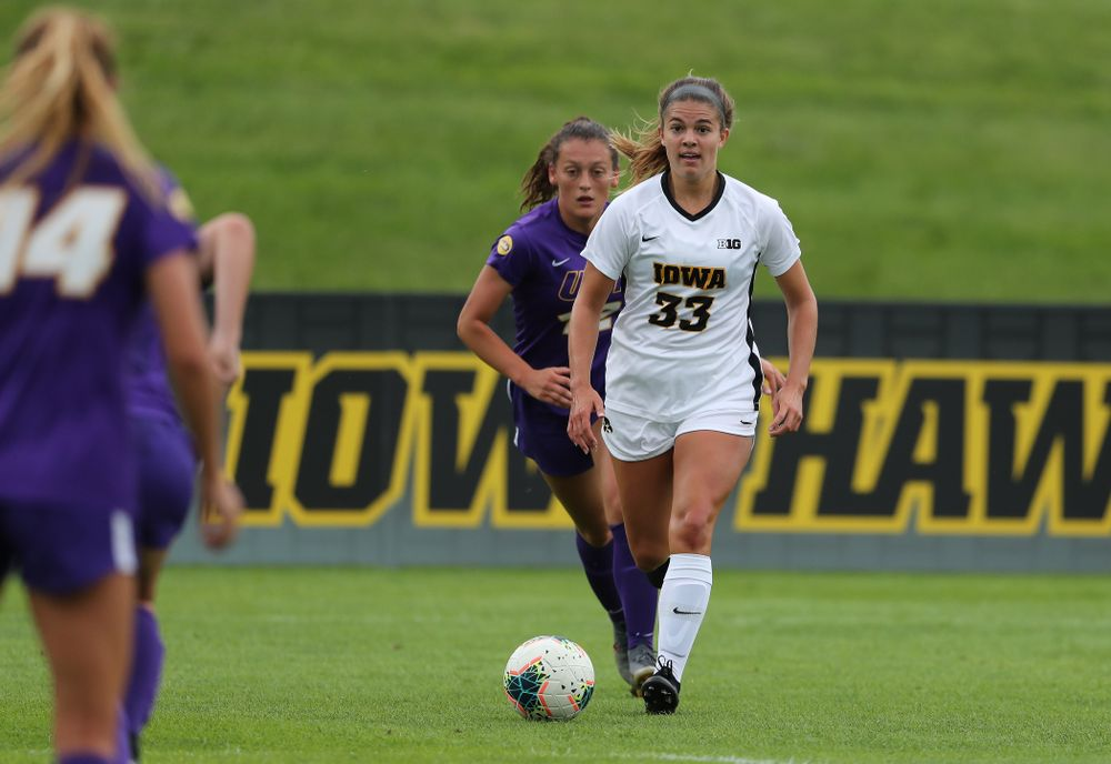 Iowa Hawkeyes defender Riley Burns (33) during a 6-1 win over Northern Iowa Sunday, August 25, 2019 at the Iowa Soccer Complex. (Brian Ray/hawkeyesports.com)