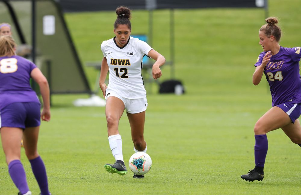 Iowa Hawkeyes forward Olivia Fiegel (12) during a 6-1 win over Northern Iowa Sunday, August 25, 2019 at the Iowa Soccer Complex. (Brian Ray/hawkeyesports.com)