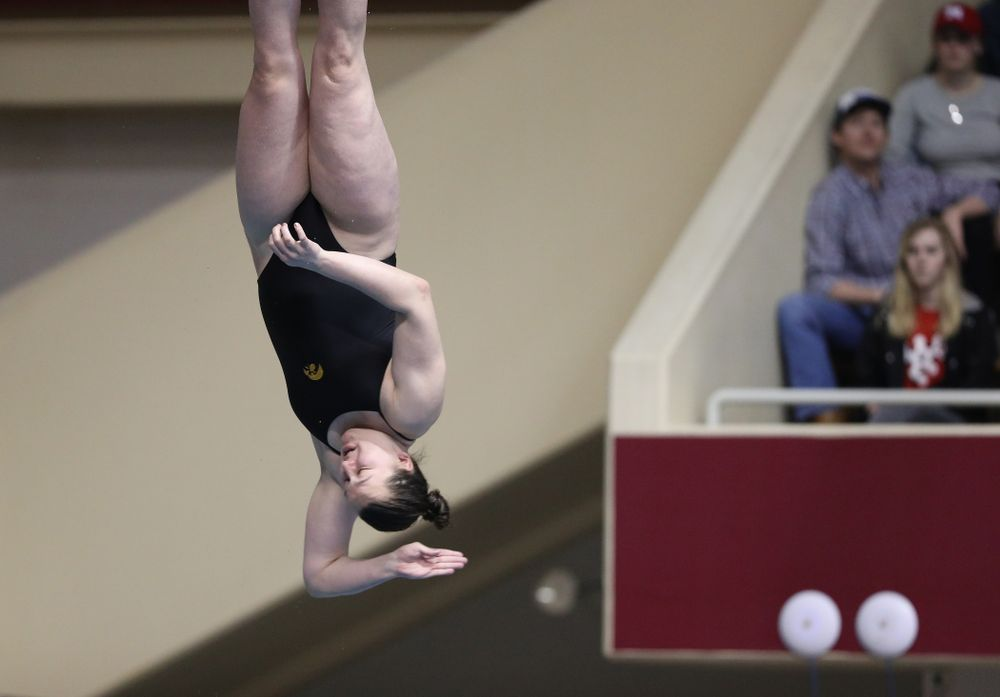 Iowa's Jacintha Thomas competes on the 1-meter springboard during the 2019 Women's Big Ten Swimming and Diving meet Thursday, February 21, 2019 in Bloomington, Indiana. (Brian Ray/hawkeyesports.com)