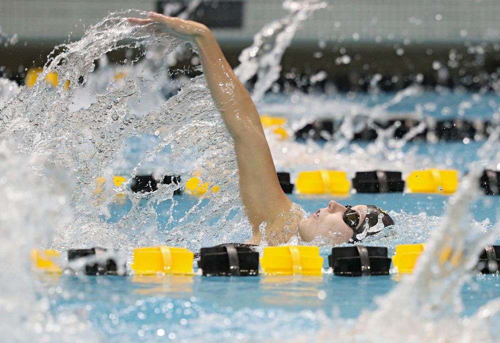 Iowa's Aleksandra Olesiak swims the backstroke section of the 100-yard individual medley event during their meet against Michigan State at the Campus Recreation and Wellness Center in Iowa City on Thursday, Oct 3, 2019. (Stephen Mally/hawkeyesports.com)