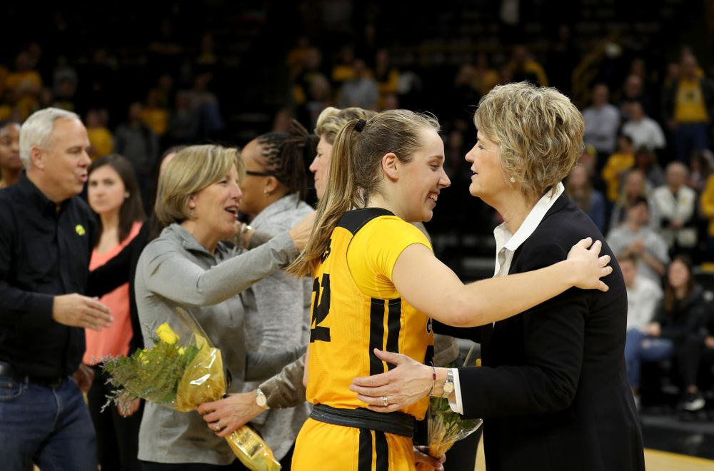 Iowa Hawkeyes guard Kathleen Doyle (22) during senior day activities following their win over the Minnesota Golden Gophers Thursday, February 27, 2020 at Carver-Hawkeye Arena. (Brian Ray/hawkeyesports.com)