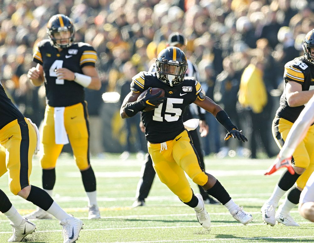 Iowa Hawkeyes running back Tyler Goodson (15) on a run during the second quarter of their game at Kinnick Stadium in Iowa City on Saturday, Nov 23, 2019. (Stephen Mally/hawkeyesports.com)