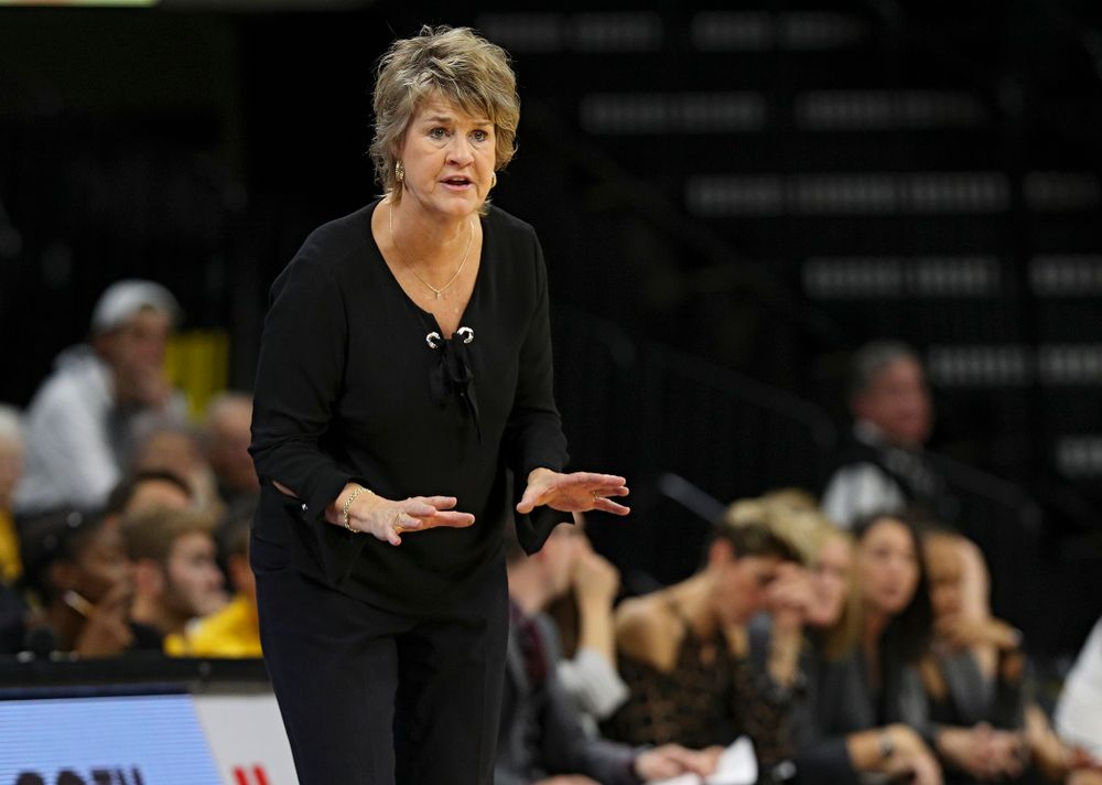 Iowa head coach Lisa Bluder directs her team during the second quarter of their overtime win against Princeton at Carver-Hawkeye Arena in Iowa City on Wednesday, Nov 20, 2019. (Stephen Mally/hawkeyesports.com)