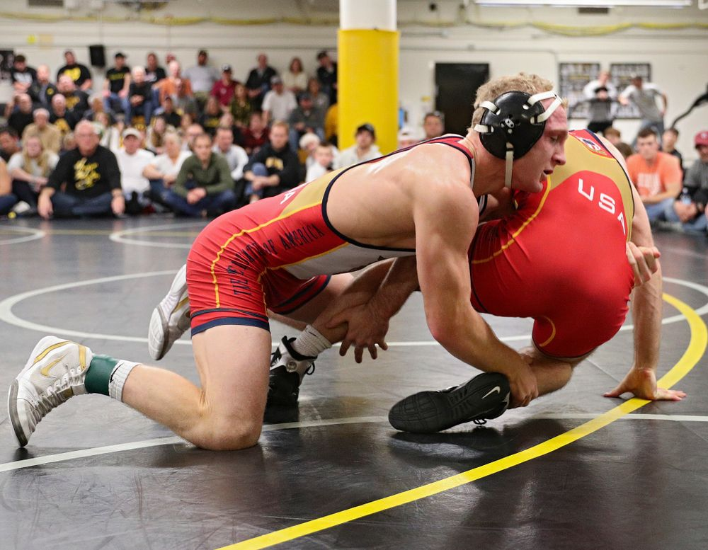 Iowa's Kaleb Young (from left) drives into Zach Axmear during their preseason match at the Dan Gable Wrestling Complex at Carver-Hawkeye Arena in Iowa City on Friday, Nov 8, 2019. (Stephen Mally/hawkeyesports.com)