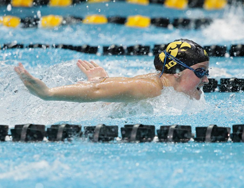 Iowa's Ariel Wooden swims the women's 50-yard butterfly event during their meet against Michigan State at the Campus Recreation and Wellness Center in Iowa City on Thursday, Oct 3, 2019. (Stephen Mally/hawkeyesports.com)