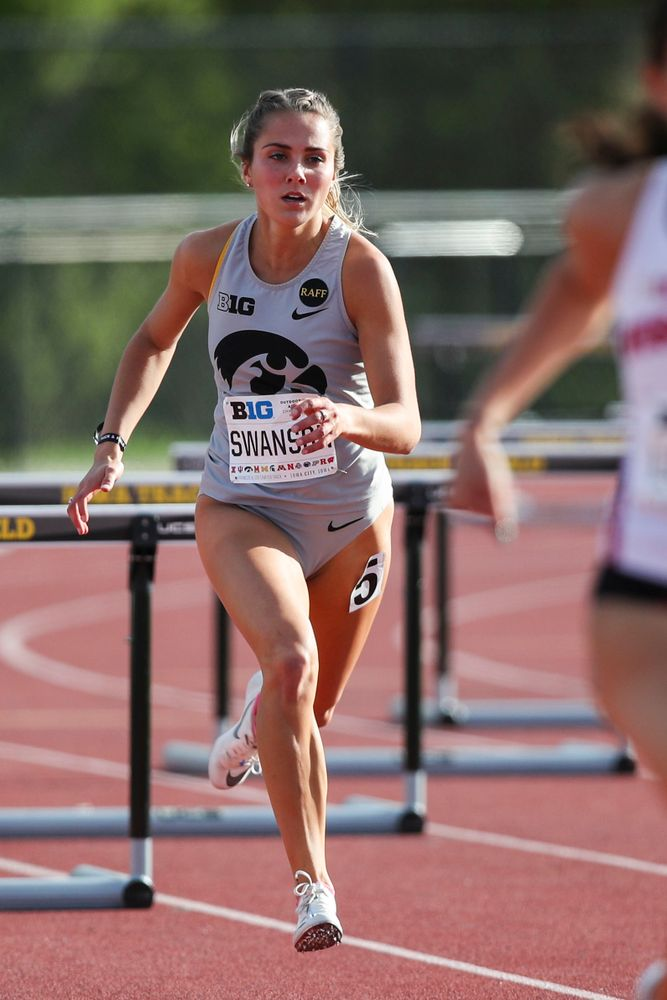 Iowa's Addie Swanson runs during the women's 400-meter hurdles at the Big Ten Outdoor Track and Field Championships at Francis X. Cretzmeyer Track on Friday, May 10, 2019. (Lily Smith/hawkeyesports.com)