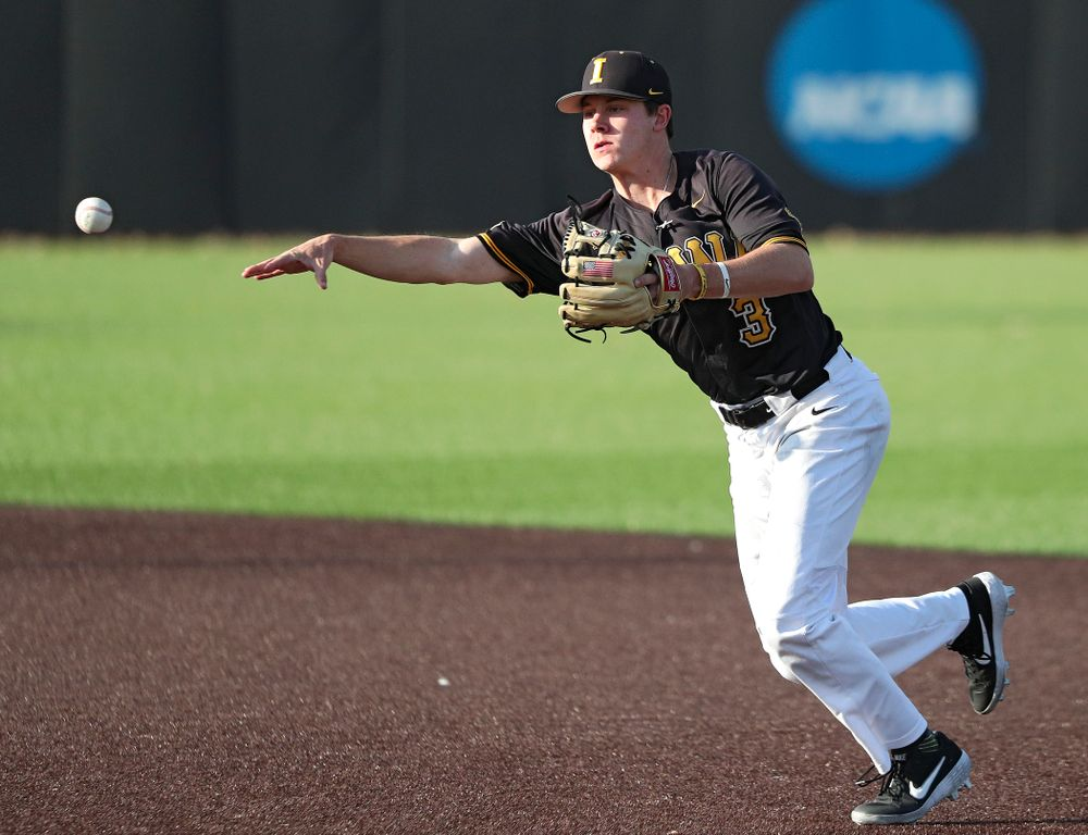 Iowa infielder Sam Link (3) throws to first for an out during the fourth inning of the first game of the Black and Gold Fall World Series at Duane Banks Field in Iowa City on Tuesday, Oct 15, 2019. (Stephen Mally/hawkeyesports.com)
