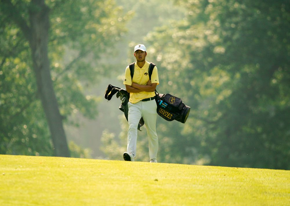 Iowa's Joe Kim walks down the fairway during the third day of the Golfweek Conference Challenge at the Cedar Rapids Country Club in Cedar Rapids on Tuesday, Sep 17, 2019. (Stephen Mally/hawkeyesports.com)