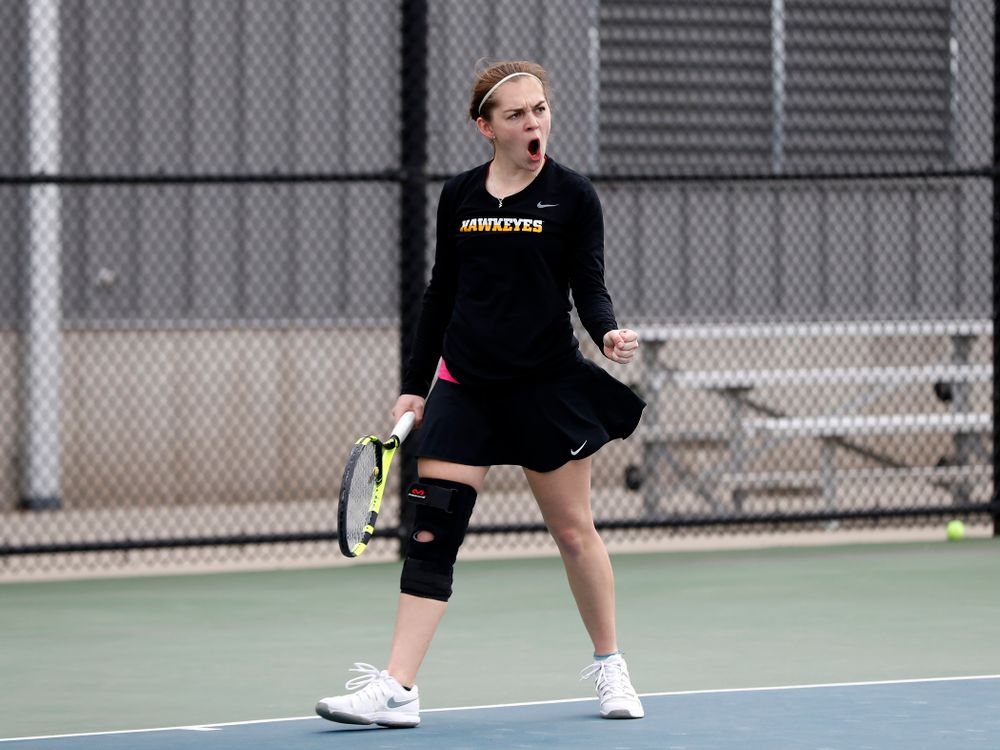 Zoe Douglas against Minnesota Friday, April 20, 2018 at the Hawkeye Tennis and Recreation Center. (Brian Ray/hawkeyesports.com)