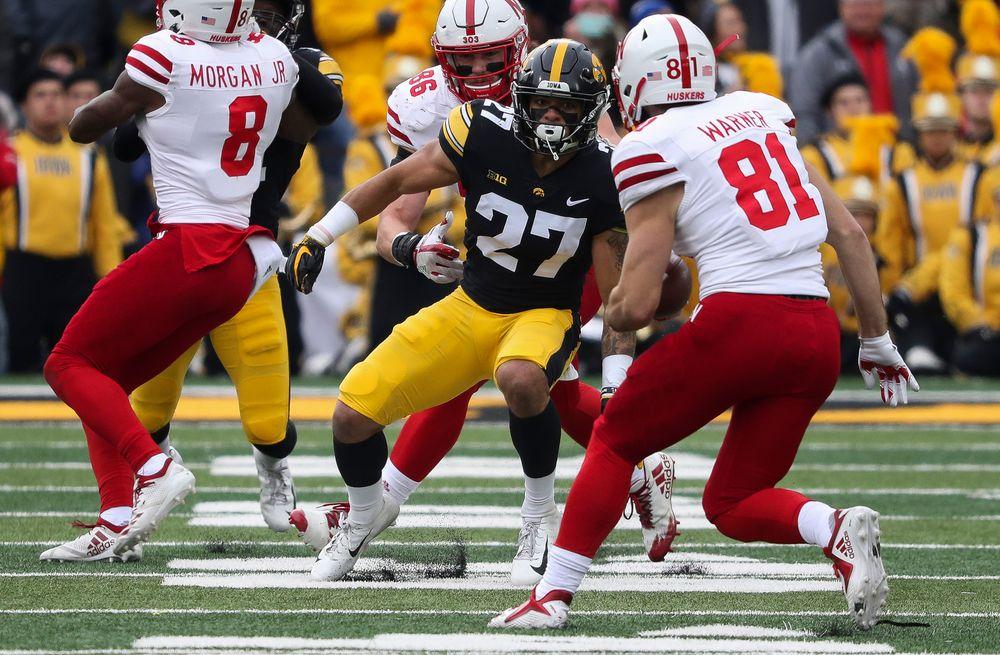 Iowa Hawkeyes defensive back Amani Hooker (27) prepares to make a tackle during a game against Nebraska at Kinnick Stadium on November 23, 2018. (Tork Mason/hawkeyesports.com)