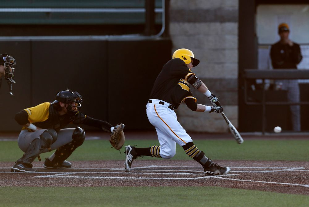 Iowa Hawkeyes infielder Mitchell Boe (4) against Milwaukee Wednesday, April 25, 2018 at Duane Banks Field. (Brian Ray/hawkeyesports.com)