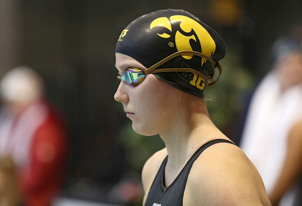 Iowa's Aleksandra Olesiak waits for the women's 200 yard breaststroke preliminary event during the 2020 Women's Big Ten Swimming and Diving Championships at the Campus Recreation and Wellness Center in Iowa City on Saturday, February 22, 2020. (Stephen Mally/hawkeyesports.com)
