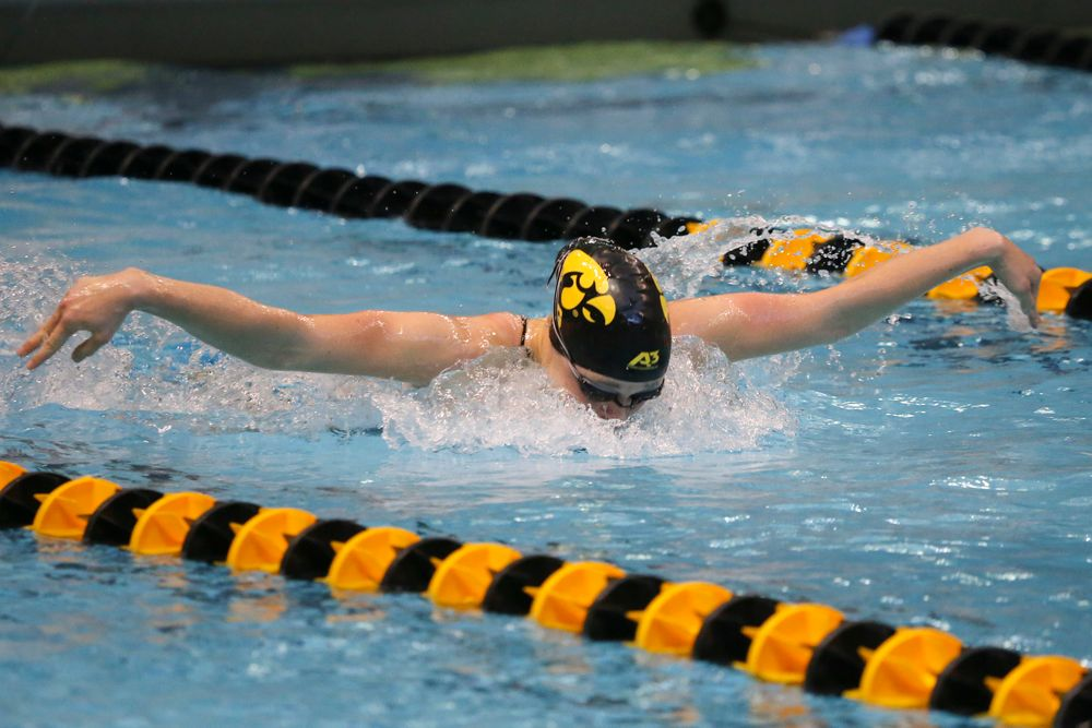 Sage Ohlesehlen during Iowa women's swimming and diving vs Rutgers on Friday, November 8, 2019 at the Campus Wellness and Recreation Center. (Lily Smith/hawkeyesports.com)